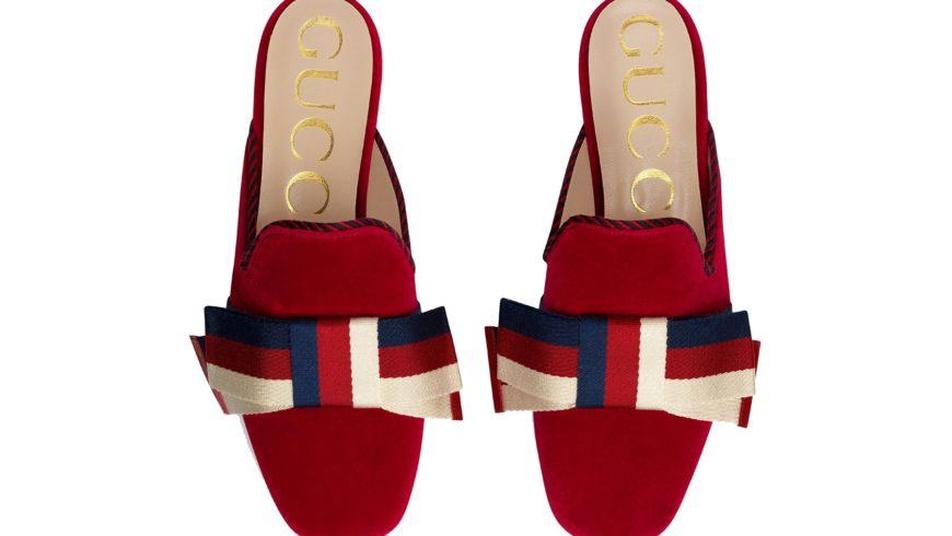Gucci's new bow-topped velvet slippers