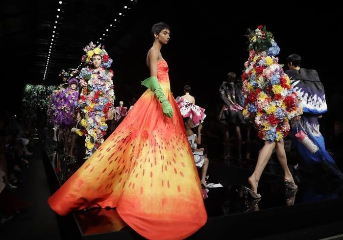 Moschino man and pre-woman parade in Rome