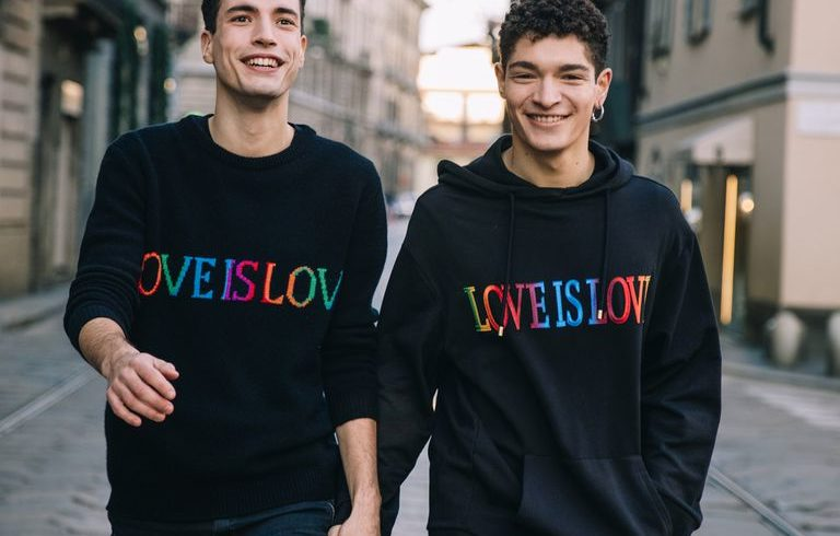 Universal love for Alberta Ferretti with rainbow sweaters for Valentine's Day