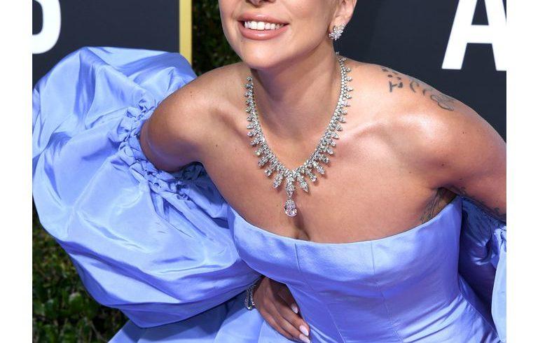 Lady Gaga's snow-blue hair, matching the Valentino Golden Globes dress