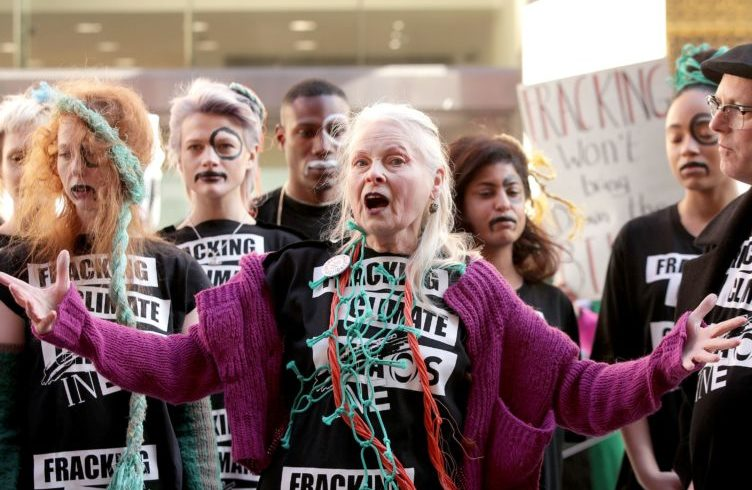 Westwood stages London fashion fracking protest