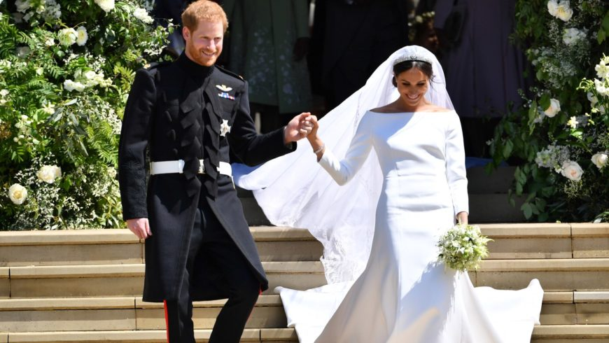 Meghan Markle walked down the aisle  at St George's Chapel at Windsor Castle wearing a Givenchy haute couture dress designed by Clare Waight Keller