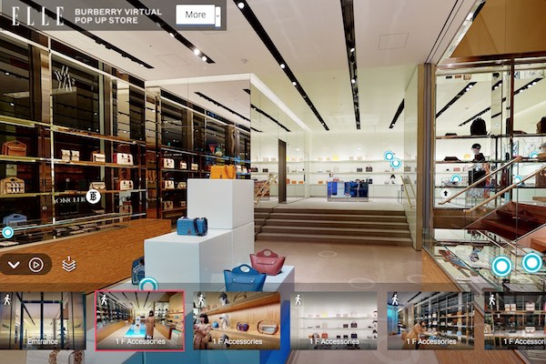 Burberry, replica digitale del negozio di Ginza