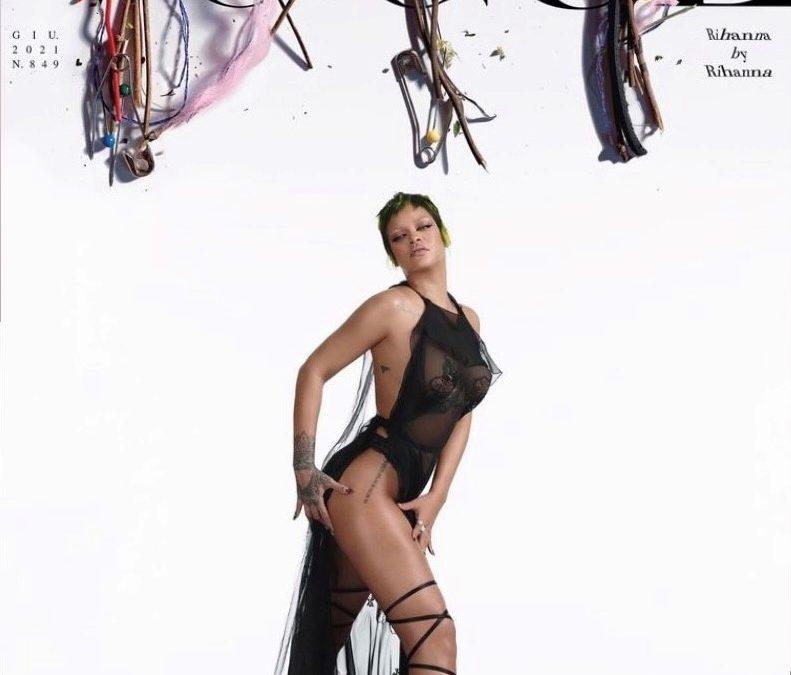 Rihanna, cover of Vogue Italia in Blumarine designed by Nicola Brognano